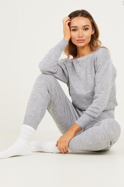 Grey Marl Knitted Lounge Set